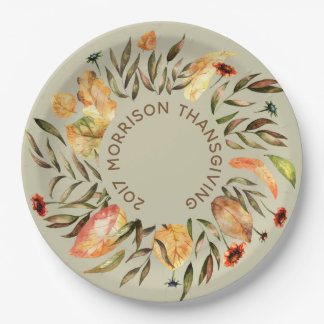 Personalised  Autumn Leaves Wreath Paper Plate