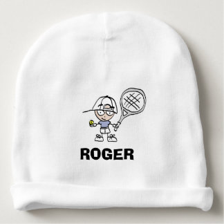 Personalised baby beanie hat with tennis cartoon