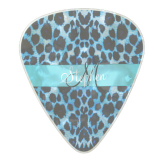 Personalised Baby Blue Leopard Print Guitar Pick Pearl Celluloid Guitar Pick