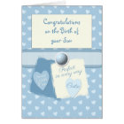 Personalised baby boy blue card