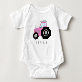 Personalised Baby Girl Pink Farm Tractor with Name Baby Bodysuit