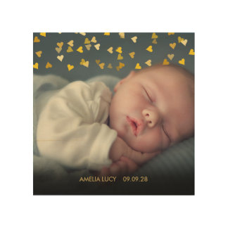 Personalised Baby Photo Gold Hearts Confetti Wood Print