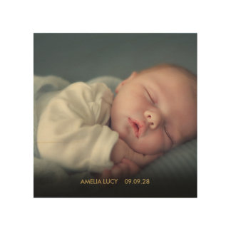 Personalised Baby Photo Gold Text Wood Wall Decor