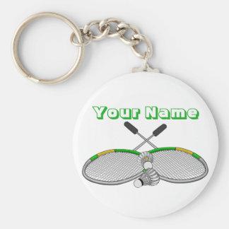 Personalised Badminton Player Crossed Racquets Key Ring