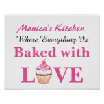 Personalised Baked with Love Cupcake Poster