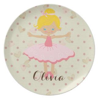 Personalised Ballerina - Blond Blue Eyes Plate