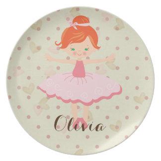 Personalised Ballerina - Red Hair Green Eyes Plate