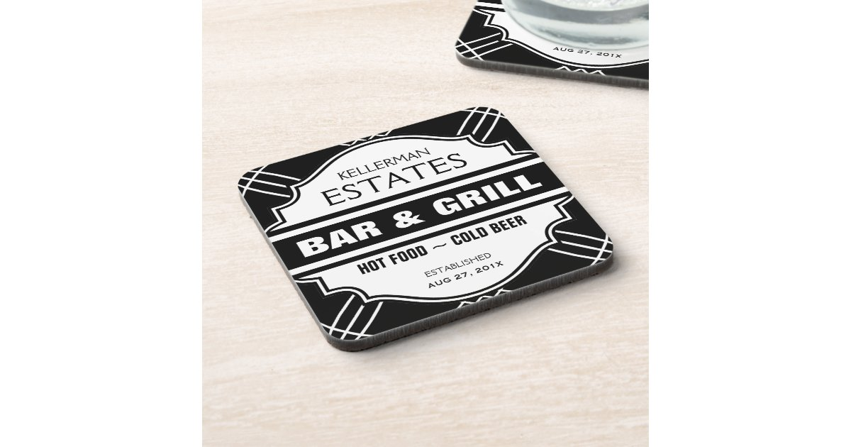 Man Cave Coasters : Personalised bar sign for man cave coaster zazzle