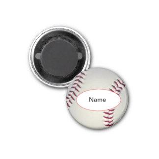 personalised baseball 3 cm round magnet