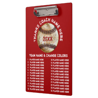 Personalised Baseball Coach Gifts in Your Colours Clipboard