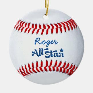 Personalised Baseball Player Gift Round Ceramic Decoration