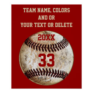 Personalised Baseball Posters, Your Text, Colours Poster