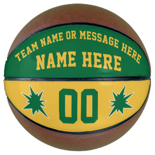 Personalised Basketball Ball, Green and Gold