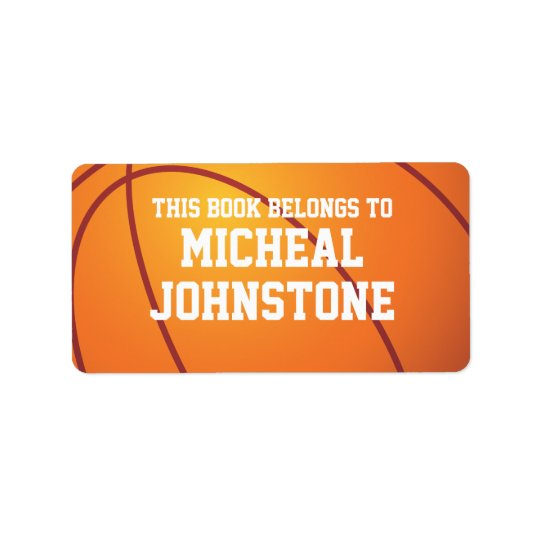 Personalised Basketball Book Plate Address Label