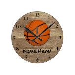 Personalised Basketball Wood Floor Clocks