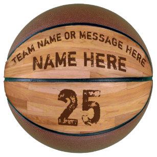 Personalised Basketballs, 3 Text Boxes, Wood Floor Basketball