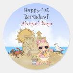 Personalised Beach Baby 1st Birthday Stickers