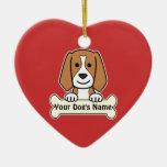 Personalised Beagle Ceramic Heart Decoration