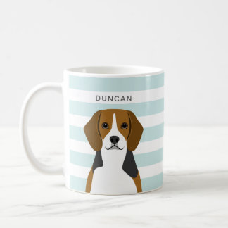 Personalised Beagle Dog Blue Stripe Coffee Mug