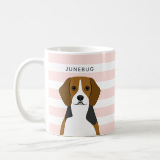 Personalised Beagle Dog Pink Stripe Coffee Mug