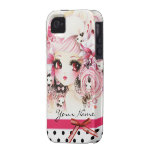 Personalised - Beautiful anime girl with bunnies iPhone 4 Case
