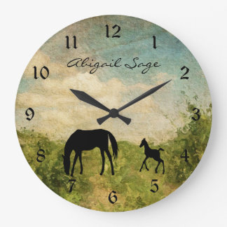 Personalised Beautiful Mare and Foal Horse Large Clock