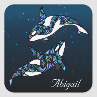 Personalised Beautiful Orca Whale Couple Square Sticker