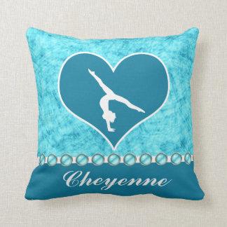 Personalised Beautiful Turquoise Gymnastics Cushion