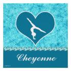 Personalised Beautiful Turquoise Gymnastics Poster