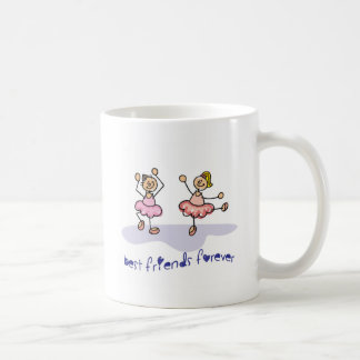 PERSONALISED BEST FRIENDS FOREVER DANCING GIRLS BASIC WHITE MUG