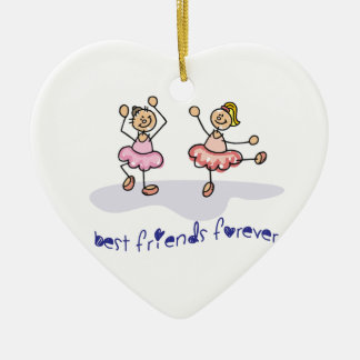 PERSONALISED BEST FRIENDS FOREVER DANCING GIRLS CERAMIC HEART DECORATION