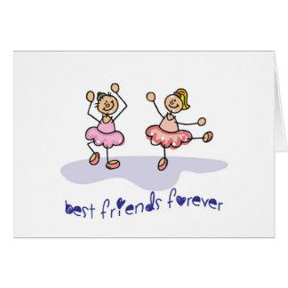 PERSONALISED BEST FRIENDS FOREVER DANCING GIRLS GREETING CARD