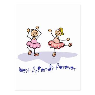 PERSONALISED BEST FRIENDS FOREVER DANCING GIRLS POSTCARD