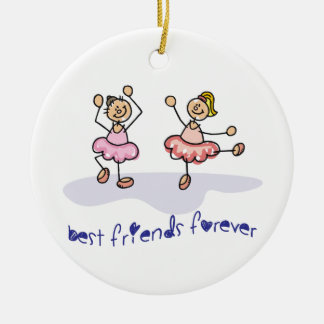 PERSONALISED BEST FRIENDS FOREVER DANCING GIRLS ROUND CERAMIC DECORATION