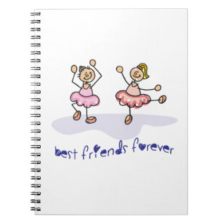 PERSONALISED BEST FRIENDS FOREVER DANCING GIRLS SPIRAL NOTEBOOK