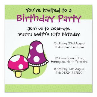 Personalised Birthday Invitation - Mushrooms