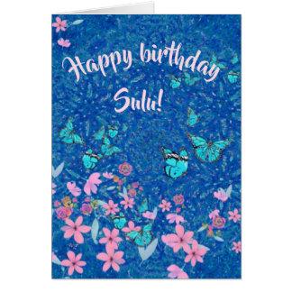 Personalised birthday wish on butterflies flowers card