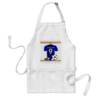 Personalised Black and blue football soccer Jersey Adult Apron