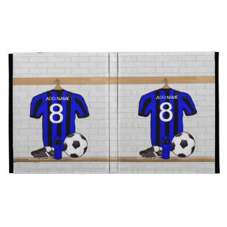 Personalised Black and blue football soccer Jersey iPad Folio Case