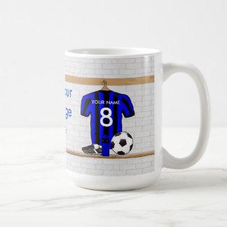 Personalised Black and Blue Football Soccer Jersey Basic White Mug