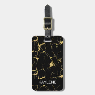 Personalised Black and Gold Marble Luggage Tag