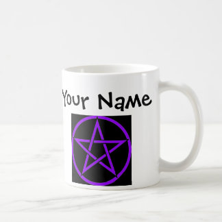 Personalised Black and Purple Pentacle Wiccan Mug