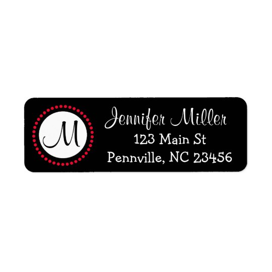 Personalised Black and Red Return Address Labels