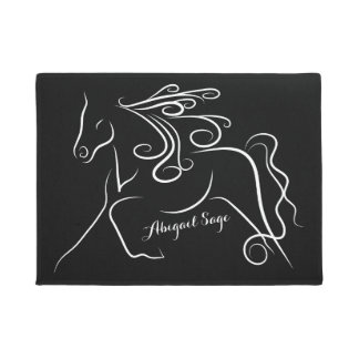 Personalised Black and White Silhouette Horse Doormat