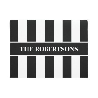 Personalised Black and White Striped Doormat