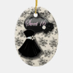 Personalised Black and White Sweet 16 Ornament