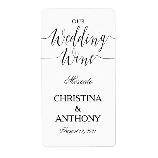 Personalised Black and White Wedding Wine Label Shipping Label