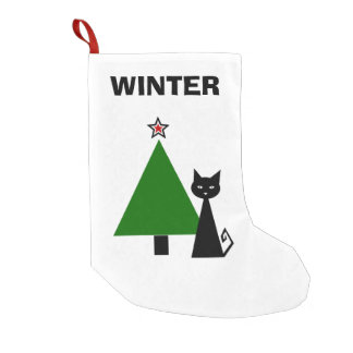 Personalised Black Cat Small Christmas Stocking