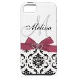 Personalised Black Damask Pink Bow Diamond Hearts iPhone 5 Cover