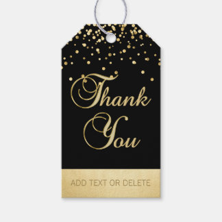 Personalised Black Gold Confetti THANK YOU favour Gift Tags
